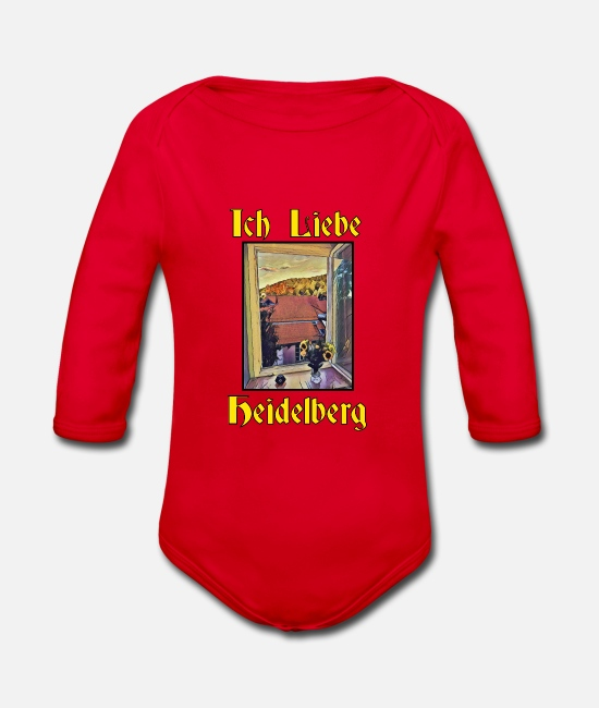 I Love Baby Bodysuits - I love Heidelberg painting - Organic Long-Sleeved Baby Bodysuit red