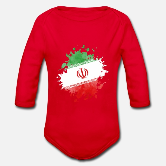Symbol  Baby Clothes - iran flag flag - Organic Long-Sleeved Baby Bodysuit red