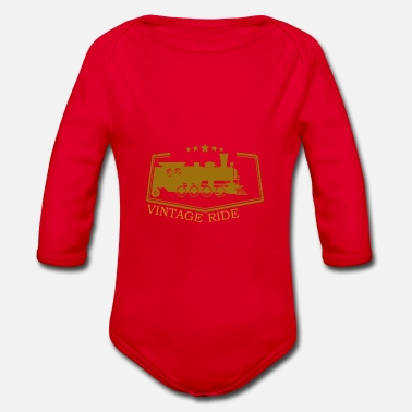 Trains - Organic Long-Sleeved Baby Bodysuit