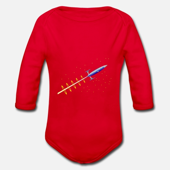 Starry Sky Baby Clothes - Rocket space travel space star astronaut - Organic Long-Sleeved Baby Bodysuit red