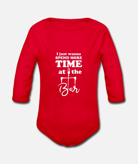 Always Baby Clothes - Kiting. Kite surfing. Surfing. Bar. Sports. Waves. - Organic Long-Sleeved Baby Bodysuit red