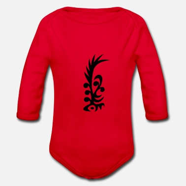 cool feather tribal - Organic Long-Sleeved Baby Bodysuit