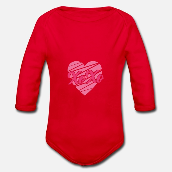 Love Baby Clothes - Proof of love Marriage proposal Valentine's Day compliment - Organic Long-Sleeved Baby Bodysuit red