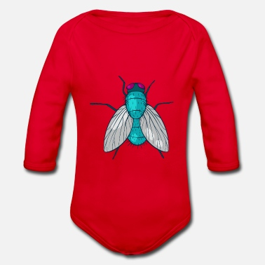 Fly housefly insect Muscidae - Organic Long-Sleeved Baby Bodysuit