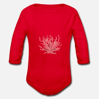 Coral coral - Organic Long-Sleeved Baby Bodysuit