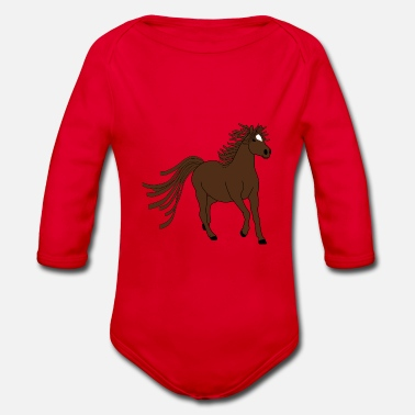 Horse Fan Dark brown horse - great motive for horse fans - Organic Long-Sleeved Baby Bodysuit