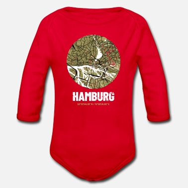 Hamburg - City Map Map (olive green) - Organic Long-Sleeved Baby Bodysuit
