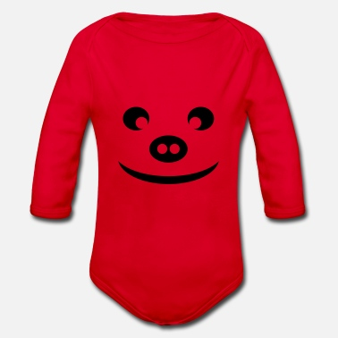 Outlet Pig head with typical outlet nose - Organic Long-Sleeved Baby Bodysuit