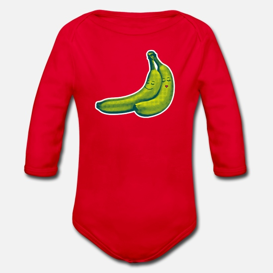 Love Baby Clothes - BANANA LOVE  - Organic Long-Sleeved Baby Bodysuit red