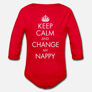 Windel Keep Calm and Change My Nappy - Baby Bio-Langarm-Body