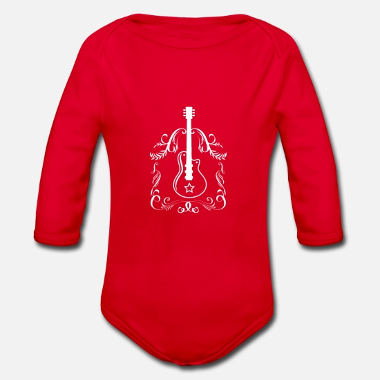 Gift Idea Baby Clothes - Guitar - Guitar - Organic Long-Sleeved Baby Bodysuit red