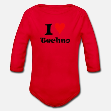 I Love Techno I Love Techno - Baby bio-rompertje met lange mouwen