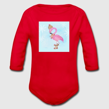 Flamingo in the frost - Organic Longsleeve Baby Bodysuit