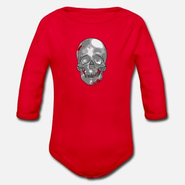 Spatter Skull with blood spatter as a comic - Organic Longsleeve Baby Bodysuit