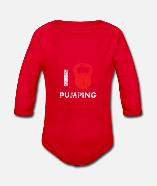 Love Baby Clothes - I love pumping - Organic Long-Sleeved Baby Bodysuit red