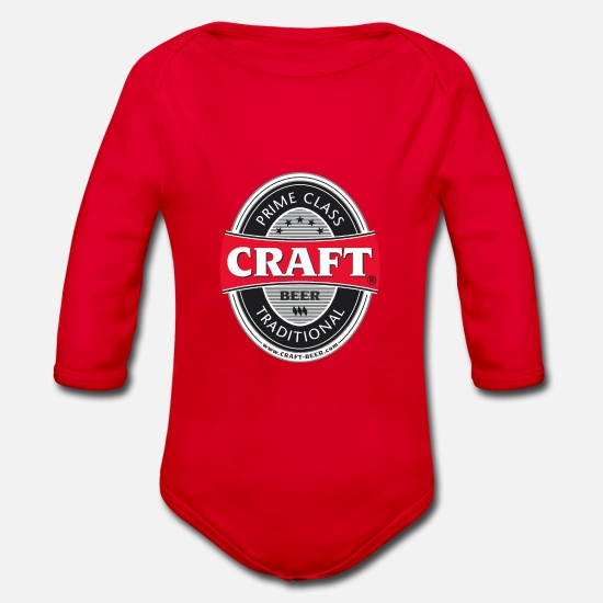 Alcohol Baby Clothes - CRAFT BEER logo - Organic Long-Sleeved Baby Bodysuit red