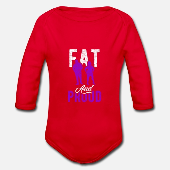 Christmas Present Baby Clothes - Fat man fat - Organic Long-Sleeved Baby Bodysuit red