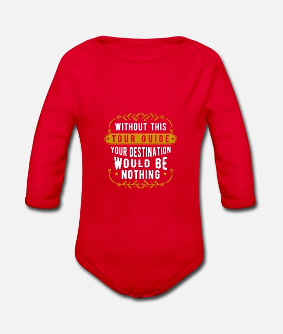 Travel Baby Clothes - tourist guide - Organic Long-Sleeved Baby Bodysuit red
