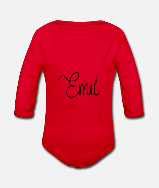 Birthday Baby Clothes - Emil - Organic Long-Sleeved Baby Bodysuit red