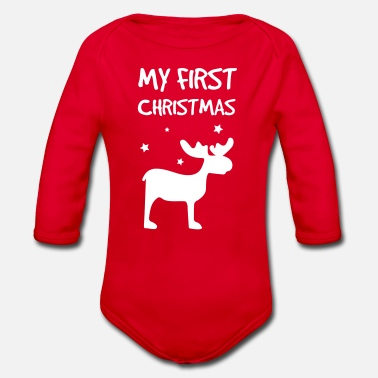 My First My First Christmas - Baby bio-rompertje met lange mouwen