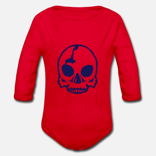 Boss Baby Clothes - Death head skull 250625 - Organic Long-Sleeved Baby Bodysuit red