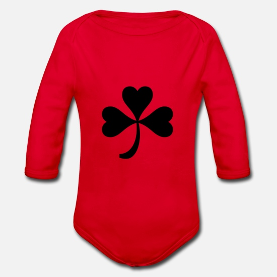 Fourleaf Clover Baby Clothes - glueckspilz kleeblatt schwarz - Organic Long-Sleeved Baby Bodysuit red
