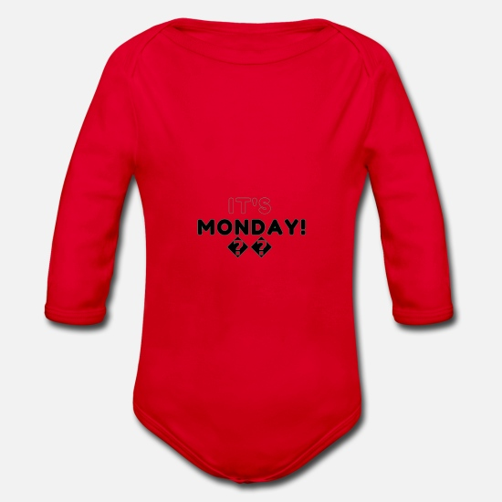 Gift Idea Baby Clothes - monday - Organic Long-Sleeved Baby Bodysuit red