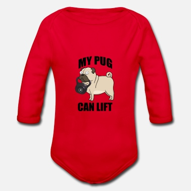 My dog can lift weights in the gym - Organic Long-Sleeved Baby Bodysuit