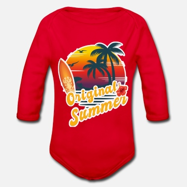 Summer Ts Summer, Palm Surfing, Summer TS, Gift - Organic Long-Sleeved Baby Bodysuit