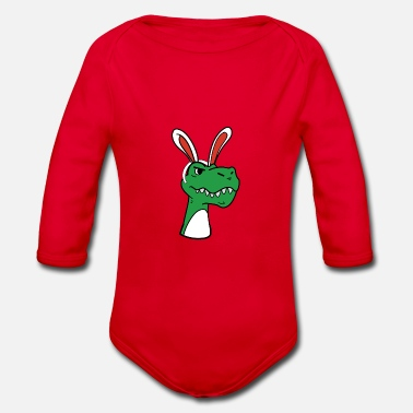 Dinosaur with rabbit ears Easter easter bunny - Organic Long-Sleeved Baby Bodysuit