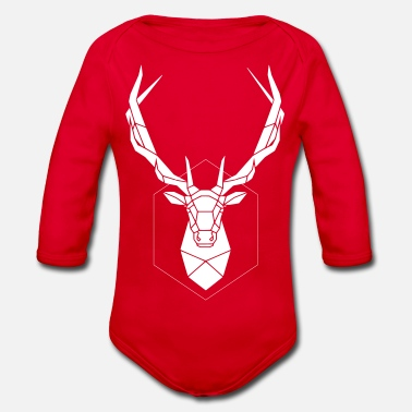 White deer Geometry animals Geometric Animal mot - Organic Long-Sleeved Baby Bodysuit