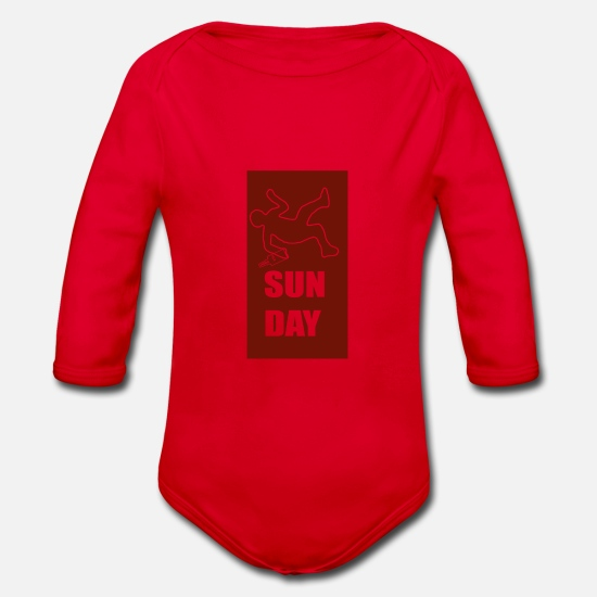 Guys Night Out Baby Clothes - SUNDAY - Organic Long-Sleeved Baby Bodysuit red