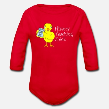 Ancient History Teaching Chick White Text - Organic Longsleeve Baby Bodysuit