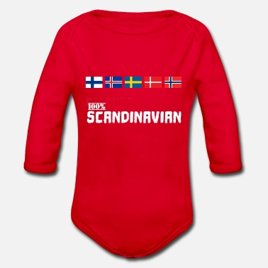 Scandinavie Scandinavie 100% Scandinave Viking flag - Body bébé bio manches longues
