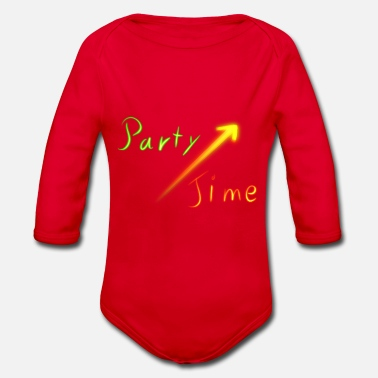 Neon Party Time Neon neon sign disco - Organic Long-Sleeved Baby Bodysuit