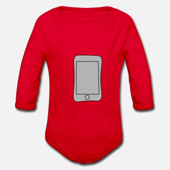 Smartphone Baby Clothes - Smartphone - Organic Long-Sleeved Baby Bodysuit red