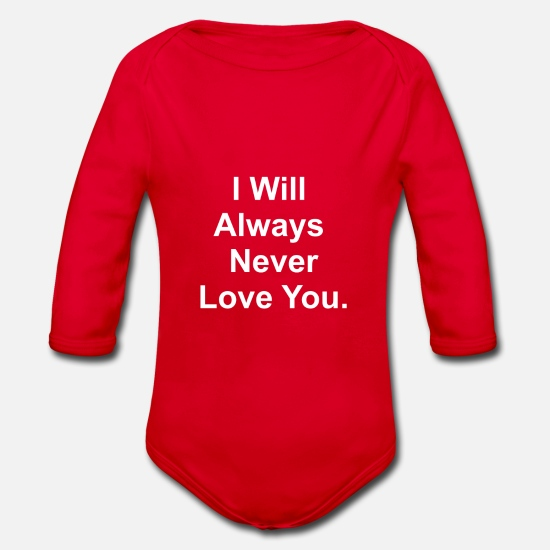 Always Baby Clothes - I always always love you - Organic Long-Sleeved Baby Bodysuit red