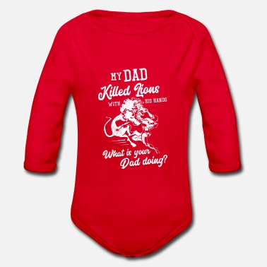 Funny Dad Dad lion funny saying - Organic Long-Sleeved Baby Bodysuit