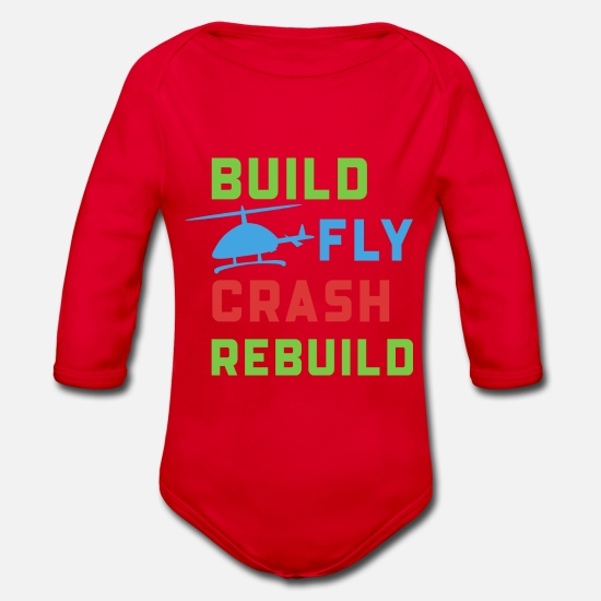 Airplane Baby Clothes - Model airplane modeler gift Funny model - Organic Long-Sleeved Baby Bodysuit red
