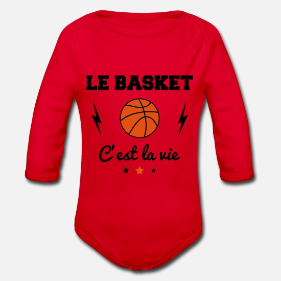 Basket Baby Clothes - Basketball is life basketball basketball - Organic Long-Sleeved Baby Bodysuit red