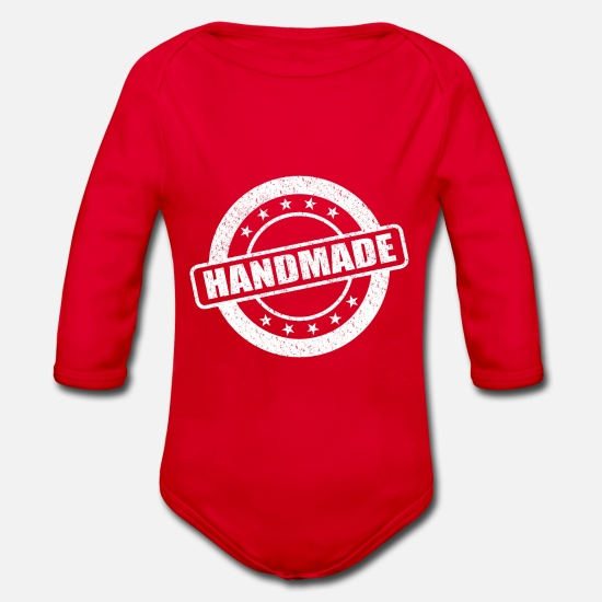 Gift Idea Baby Clothes - Handmade - Organic Long-Sleeved Baby Bodysuit red