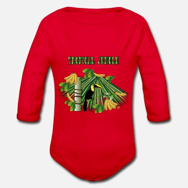 Jungle Tropical jungle with tukan and bananas - Organic Long-Sleeved Baby Bodysuit