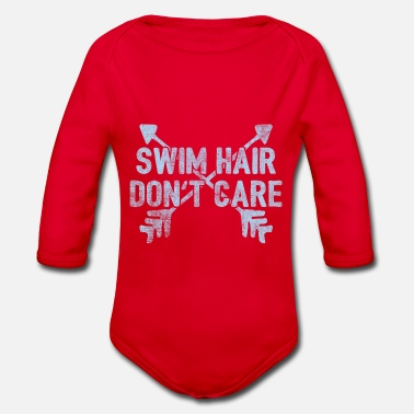 Dont Swim Hair Don't care Gift - Organic Long-Sleeved Baby Bodysuit