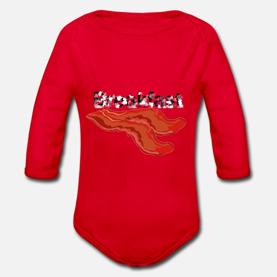 Alcohol Baby Clothes - breakfast - Organic Long-Sleeved Baby Bodysuit red