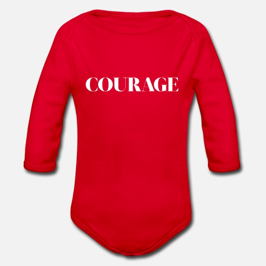 Gift Idea Baby Clothes - courage - Organic Long-Sleeved Baby Bodysuit red
