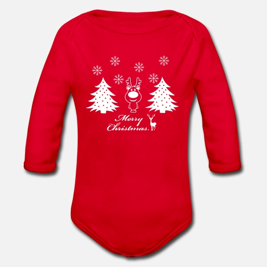 Gift Idea Baby Clothes - Xmas Forst - Organic Long-Sleeved Baby Bodysuit red