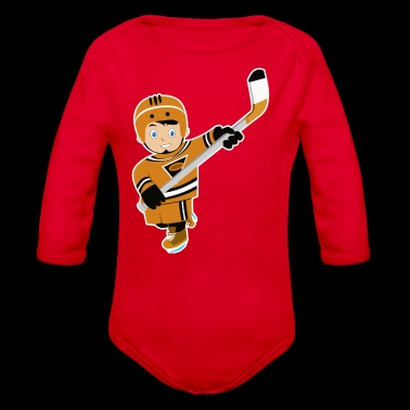 Cartoon hockey boy bat gift idea - Organic Longsleeve Baby Bodysuit
