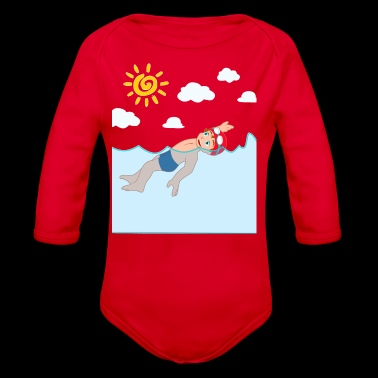 Backstroke swimmer fun sun gift idea - Organic Longsleeve Baby Bodysuit