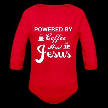 Powered By Coffee And Jesus - Organic Longsleeve Baby Bodysuit