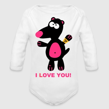 Ich liebe dich Statement I love You Maulwurf Paar  - Body bébé bio manches longues